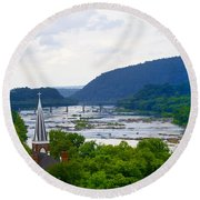 Potomac River At Harpers Ferry Round Beach Towel
