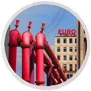 Potsdamer Platz Pink Pipes In Berlin Round Beach Towel