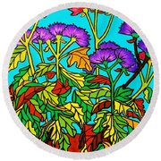 Potted Mums Framed Round Beach Towel