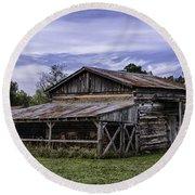 Pottsville Arkansas Historic Log Barn Round Beach Towel