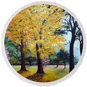 Poui Trees In The Savannah Round Beach Towel