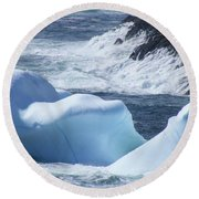 Pounding Surf With Icebergs Round Beach Towel