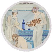 Pouring Water Over The Patient Round Beach Towel by Joseph Kuhn-Regnier
