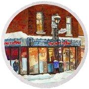 Poutine Lafleur Rue Wellington Verdun Art Montreal Paintings Cold Winter Walk City Shops Cspandau   Round Beach Towel