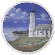 Poverty Island Lighthouse Round Beach Towel