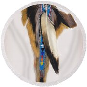 Pow Wow Regalia - White Round Beach Towel