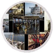 Power Collage Queen Mary Ocean Liner Long Beach Ca 01 Round Beach Towel