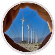Power In The Hand Round Beach Towel