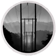 Power In The Morning Mist Round Beach Towel