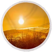 Power Lines And Trees In The Frozen Round Beach Towel