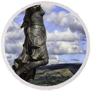Powis Castle Statuary Round Beach Towel