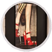 Prada Red Shoes Round Beach Towel