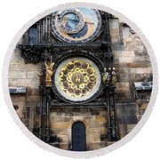 Prague Astronomical Clock Round Beach Towel