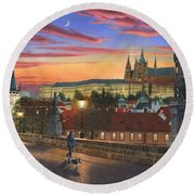 Prague At Dusk Round Beach Towel