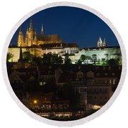 Prague  Castle At Night Round Beach Towel