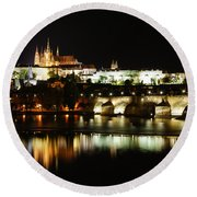 Prague Castle Round Beach Towel