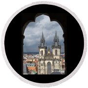 Prague From Town Hall Tower Round Beach Towel