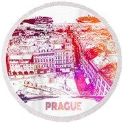 Prague Skyline Panorame Round Beach Towel