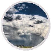 Prairie Storm Clouds Round Beach Towel