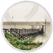 Prange Street Pier Raining Round Beach Towel