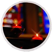 Prayer Candles Trinity Cathedral Pittsburgh Round Beach Towel