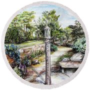 Prayer Wheel At Pacifica's Lambert Campus- Postcard Round Beach Towel