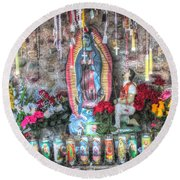 Prayers To Our Lady Of Guadalupe Round Beach Towel