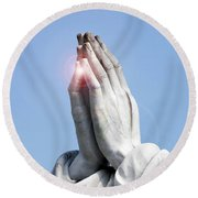 Praying Hands Lens Flare Round Beach Towel