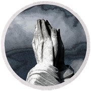 Praying Hands Round Beach Towel
