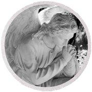 Praying Male Angel Near Infrared Black And White Round Beach Towel