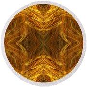 Precious Metal 3 Ocean Waves Dark Gold Round Beach Towel