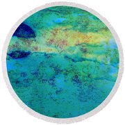 Prescott Blue Abstract Round Beach Towel