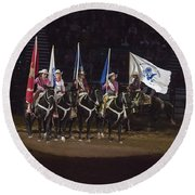 Presenting The Colors On Horseback Round Beach Towel