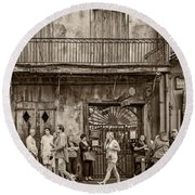Preservation Hall Sepia Round Beach Towel