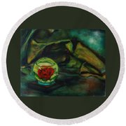 Preserved Rose . . Draped Canvas Round Beach Towel