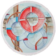 Preserver Rings On Guard Round Beach Towel