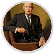 President Dwight D. Eisenhower By J. Anthony Wills Round Beach Towel