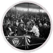 President Herbert Hoover And Baseball Great Walter Johnson 1931 Round Beach Towel