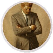 President John F. Kennedy Official Portrait By Aaron Shikler Round Beach Towel by Movie Poster Prints
