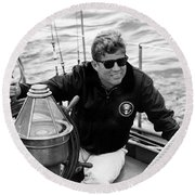President John Kennedy Sailing Round Beach Towel by War Is Hell Store