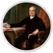 President John Quincy Adams  Round Beach Towel by War Is Hell Store