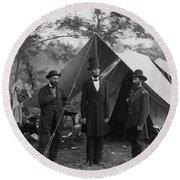 President Lincoln At Antietam Round Beach Towel