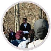 President Lincoln Speaks Round Beach Towel