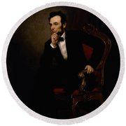 President Lincoln  Round Beach Towel by War Is Hell Store