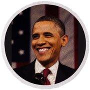 President Obama Round Beach Towel by Mim White