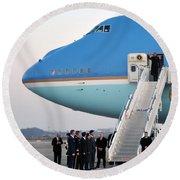 President Obama, Osan Air Base, Korea Round Beach Towel