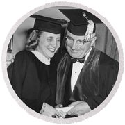 President Truman And Daughter Round Beach Towel
