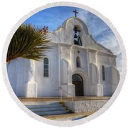 Presidio Chapel San Elizario Texas Round Beach Towel