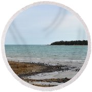 Presque Isle Harbor Round Beach Towel