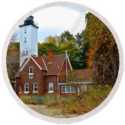 Presque Isle Lighthouse Round Beach Towel by Frozen in Time Fine Art Photography